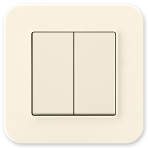 Выключатель 2-клавишный (без рамки) крем 01401200-150103      ()