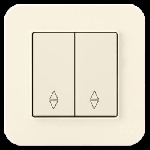 Выключатель 2-клавишный проходной (без рамки) крем 01401200-150109      ()