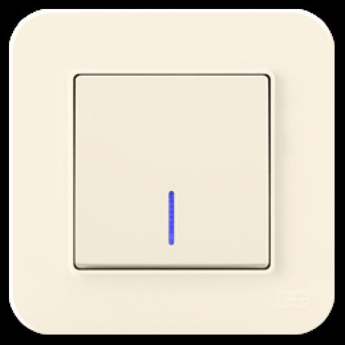 Выключатель 1-клавишный с индикацией (без рамки) крем 01401200-150102      ()