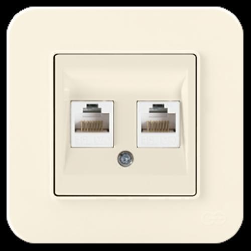 Розетка компьютерная (2 порта) крем 01401200-157332      ()