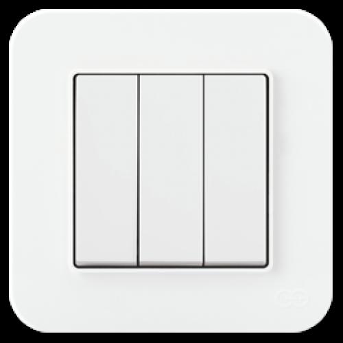 Выключатель 3-кл (без рамки) белый 01409300-150160      ()