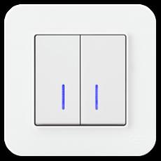 Выключатель 2-кл с индикацией (без рамки) белый 01409300-150104