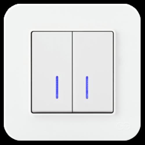 Выключатель 2-кл с индикацией (без рамки) белый 01409300-150104      ()