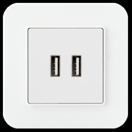 Розетка USB на 2 гнезда белый 01409300-157353      ()
