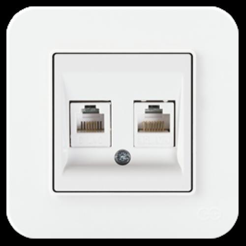 Розетка компьютерная (2 порта) бел 01409300-157332      ()