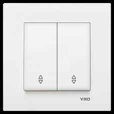 Выключатель 2кл проходной (без рамки) белый