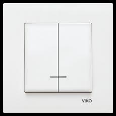 Выключатель 2-кл c индикацией (без рамки) белый