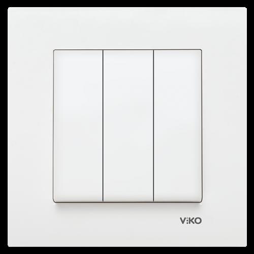 Выключатель 3-кл (без рамки) белый Viko Karre (90964668)