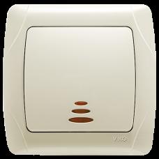 Выключатель 1-кл с индикацией кремовый