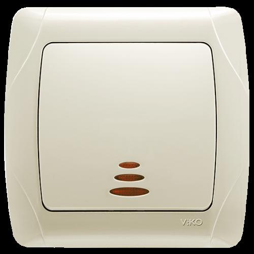 Выключатель 1-кл с индикацией кремовый  Viko Carmen (90562019)