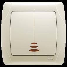 Выключатель 2-кл с индикацией кремовый