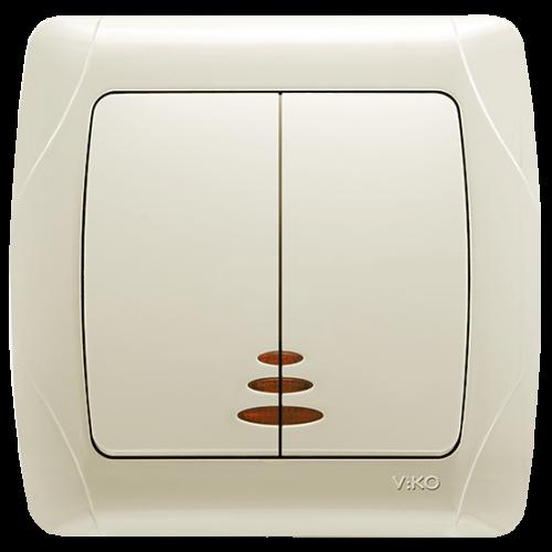 Выключатель 2-кл с индикацией кремовый  Viko Carmen (90562050)