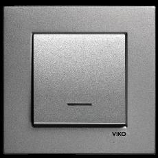 Выключатель 1-клавишный c индикацией (без рамки) дымчатый