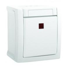 Выключатель 1-клавишный c индикацией белый наружный