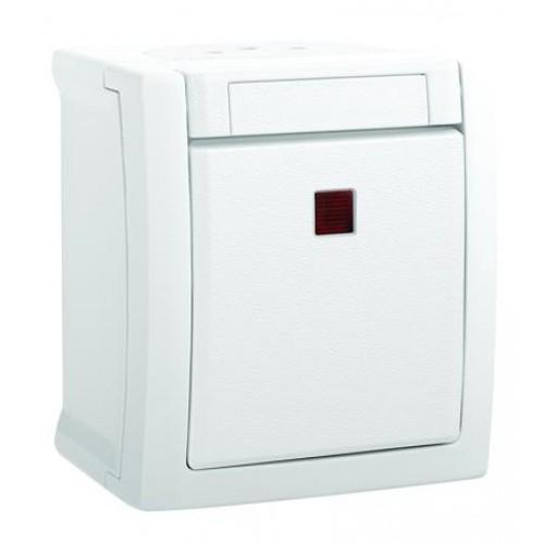 Выключатель 1-клавишный c индикацией белый наружный Panasonic Pacific (WPTC40022WH-BY)