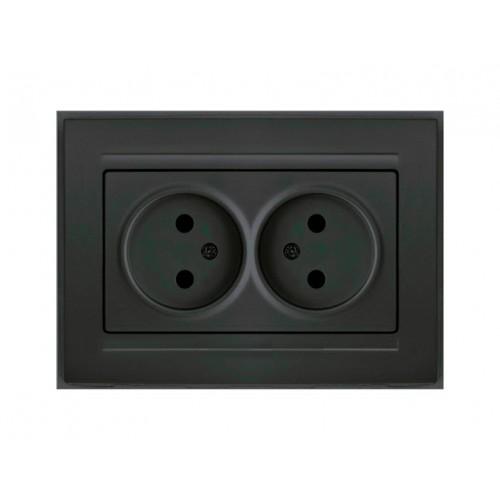 Двойная розетка черная Gunsan Moderna (01 29 34 00 100 149)