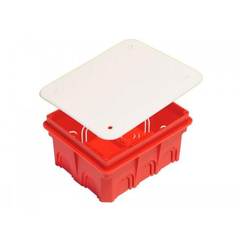 Коробка разветвительная для сплошных стен прямоугольная с крышкой Hegel     (КР1103)