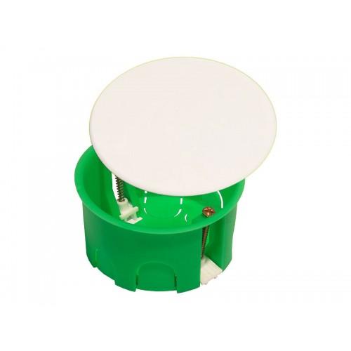 Коробка разветвительная для полых стен круглая с крышкой (пластиковые лапки) Hegel     (КР1202)