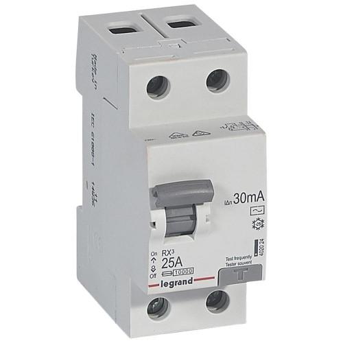 УЗО электромеханическое 2P 25A 10kA 30mA тип AC Legrand RX3 (402024)