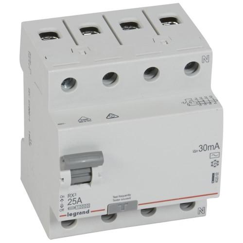 УЗО Legrand RX3 электромеханическое 4P 25A 10kA 30mA тип AC Legrand RX3 (402062)