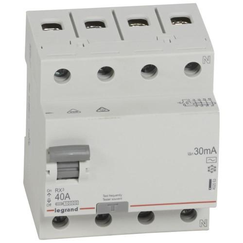 УЗО электромеханическое 4P 40A 10kA 30mA тип AC  Legrand RX3 (402063)