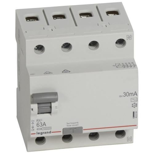 УЗО электромеханическое 4P 63A 10kA 30mA тип AC  Legrand RX3 (402064)