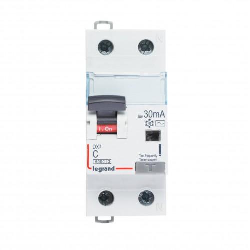 Дифференциальный автомат электромеханический 1P+N 6A хар-ка C 6kA 30mA тип AC Legrand DX3 (410999)