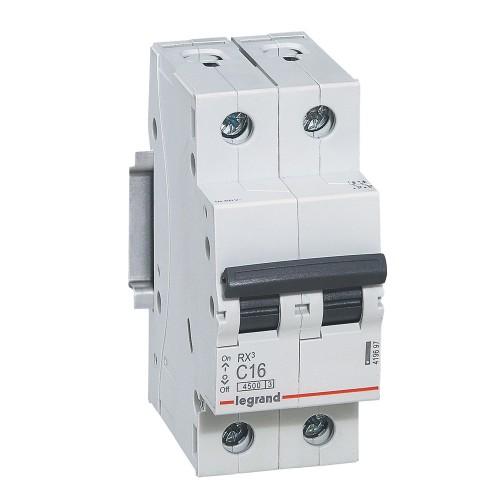 Автоматический выключатель 2P 16A хар-ка C 4,5kA Legrand RX3 (419697)