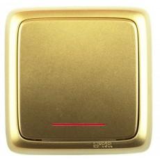 Выключатель 1-клавишный c индикацией золото