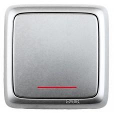 Выключатель 1-клавишный c индикацией серебро