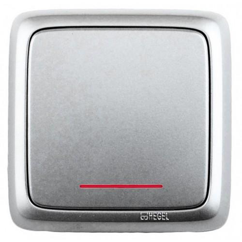 Выключатель 1-клавишный c индикацией серебро Hegel Alfa IP20 (ВА10-114-06)
