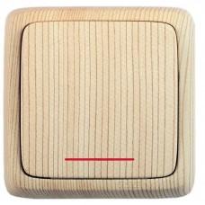 Выключатель 1-клавишный c индикацией сосна