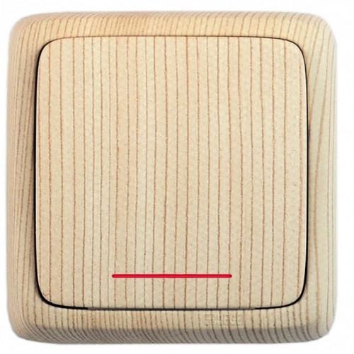Выключатель 1-клавишный c индикацией сосна  Hegel Alfa IP20 (ВА10-114-02)
