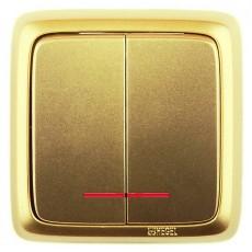 Выключатель 2-кл с индикацией золото