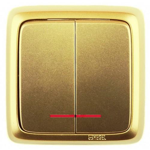 Выключатель 2-кл с индикацией золото Hegel Alfa IP20 (ВА10-154-07)