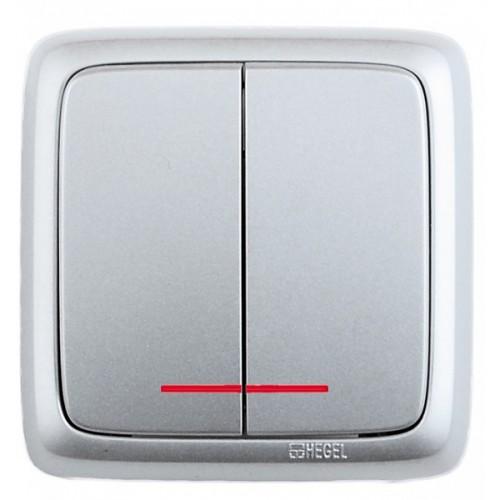 Выключатель 2-кл с индикацией серебро Hegel Alfa IP20 (ВА10-154-06)