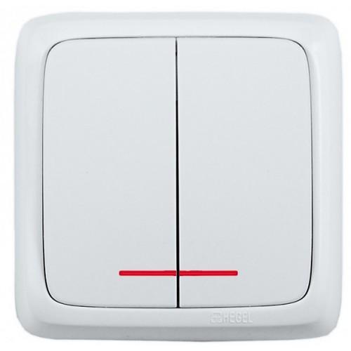 Выключатель 2-кл с индикацией белый  Hegel Alfa IP20 (ВА10-154)
