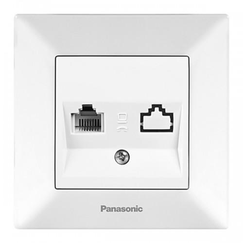 Розетка ТЛФ (в сборе) белая Panasonic Arkedia (WMTC04022WH-BY)