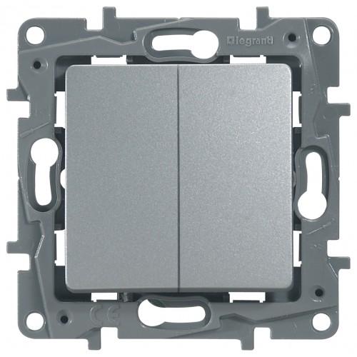 Переключатель/выключатель 2-кл. аллюминий Legrand Etika (672412)