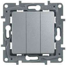 Выключатель 3-кл  алюминий