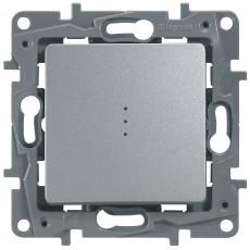 Переключатель/выключатель 1-кл. с подсветкой аллюминий