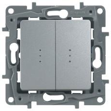 Переключатель/выключатель 2-кл. с подсветкой аллюминий