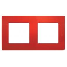 Рамка 2поста красная