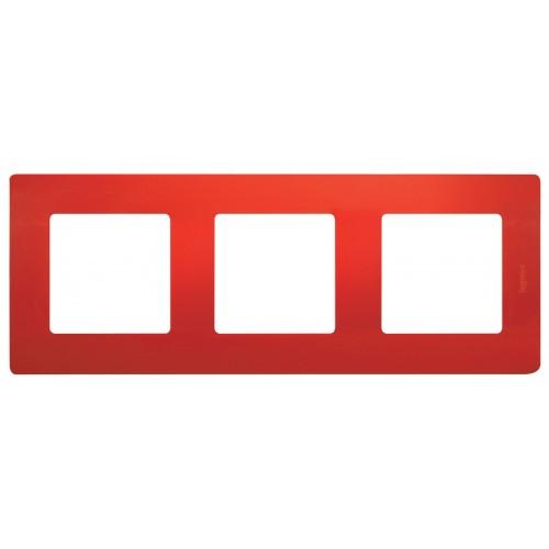 Рамка 3поста красная Legrand Etika (672533)