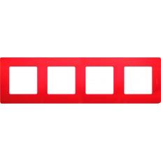 Рамка 4 поста красная