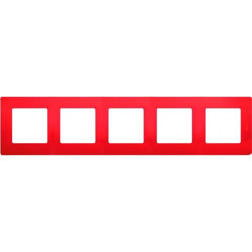 Рамка 5постов красная Legrand Etika (672535)