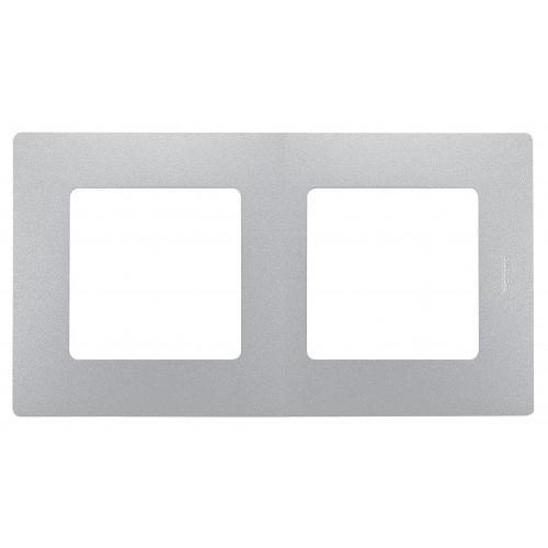 Рамка 2 поста алюминий Legrand Etika (672552)