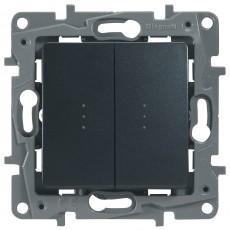 Переключатель/выключатель 2-кл. с подсветкой антрацит