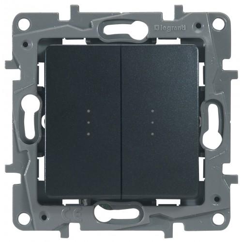 Переключатель/выключатель 2-кл. с подсветкой антрацит Legrand Etika (672616)