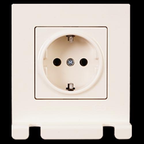 Розетка с/з с держателем для кабеля (в сборе) кремовая Gunsan Eqona original (01401205-100115)